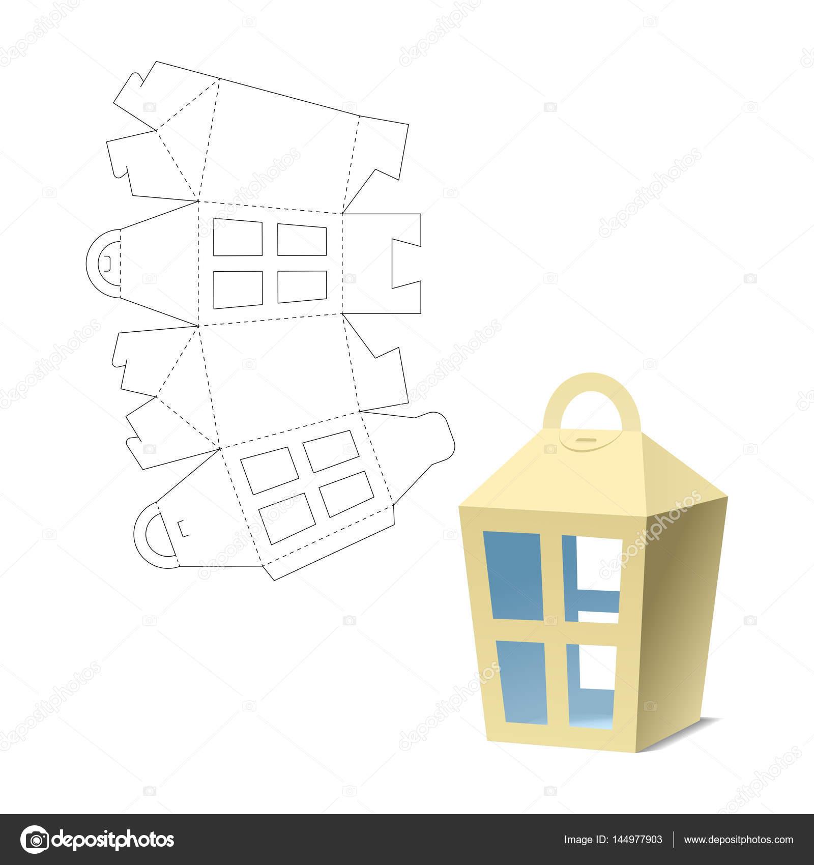 Box Lantern Gift Cut Die Layout Vector By Philka