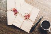 envelopes on coffee table