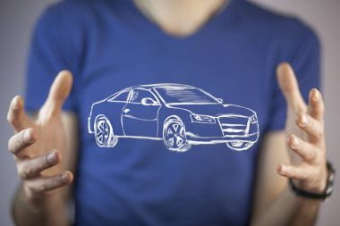 businessman's  hands with  car icon