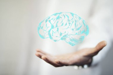 male  hand  with brain icon. Cncept