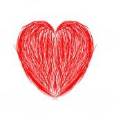 červené srdce láskou ilustrace na bílém