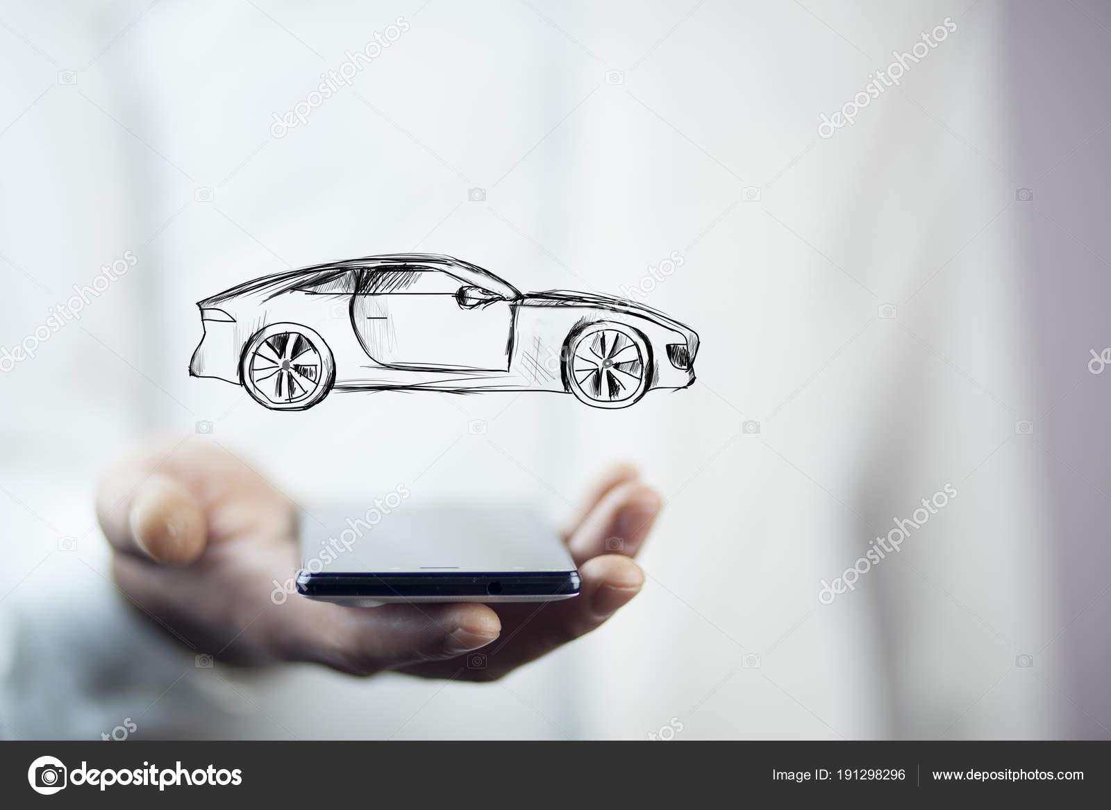 Businessman Hand Phone Car Icon Stock Photo C Tiko0305 191298296