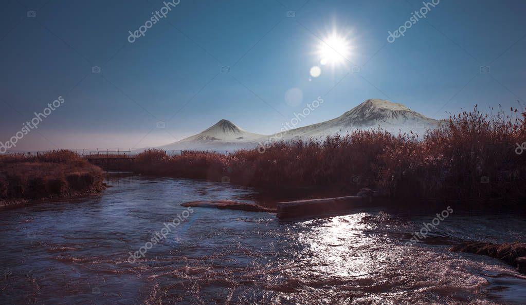 Mount Ararat mirrored in the lake. nature