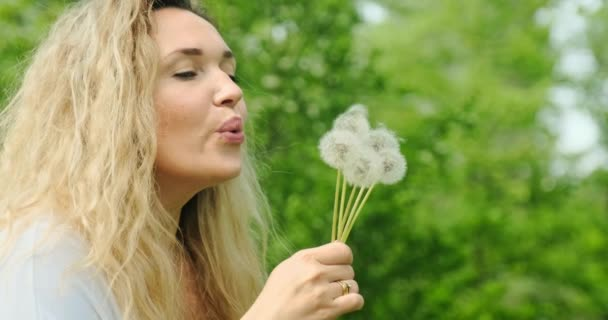 Adult woman blowing on the dandelions on the nature. Happy adult  girl blows dandelions. Happiness concept. Outdoors portrait of a blonde woman with long curly hair in the park. Smiling female face