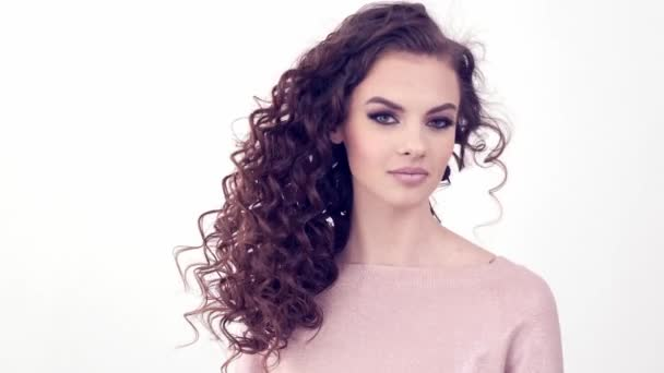 Beautiful Woman Long Curly Hair Beauty Face Fashion Model Fashion Video By C Alfa 13 Stock Footage 332601616
