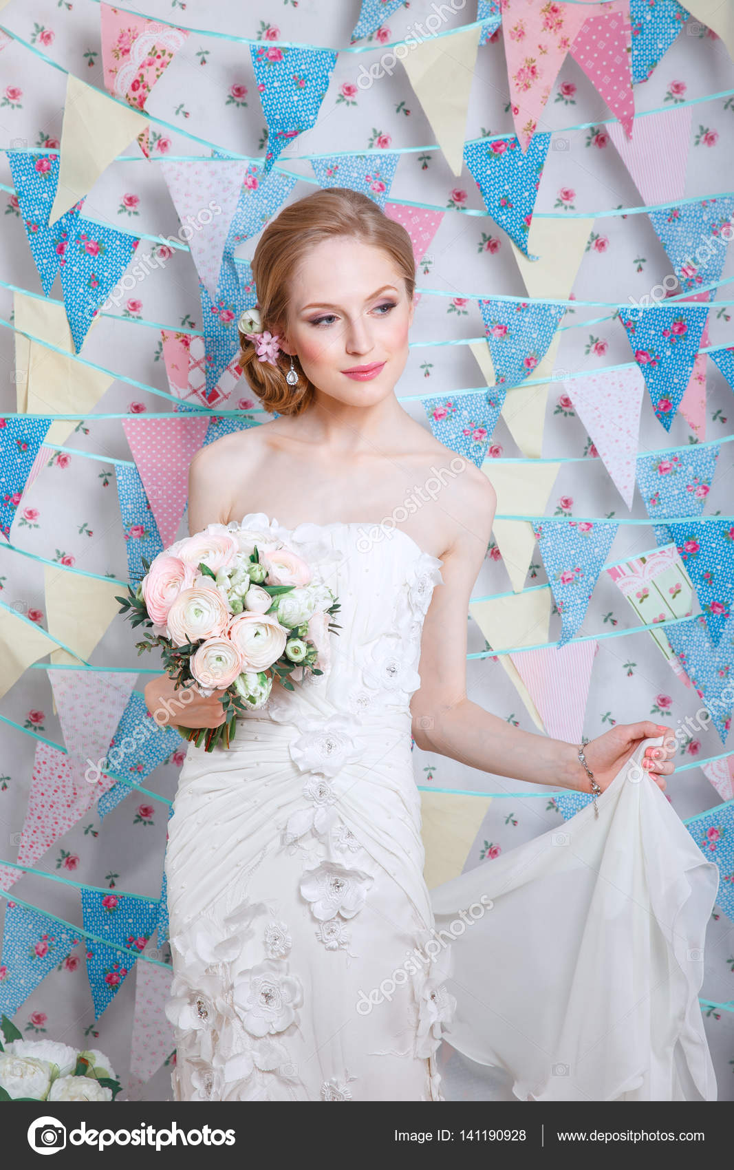 Bride.Young fashion model with make up, ,curly hair, flowers in hair ...