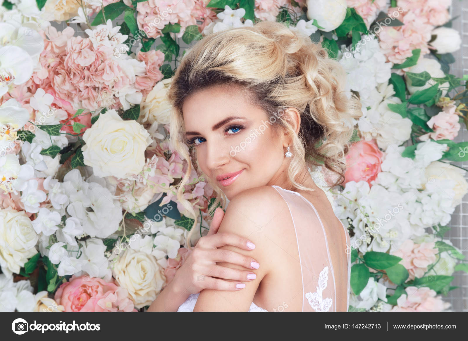 Portrait Of A Beautiful Fashion Bride Sweet And Sensual On