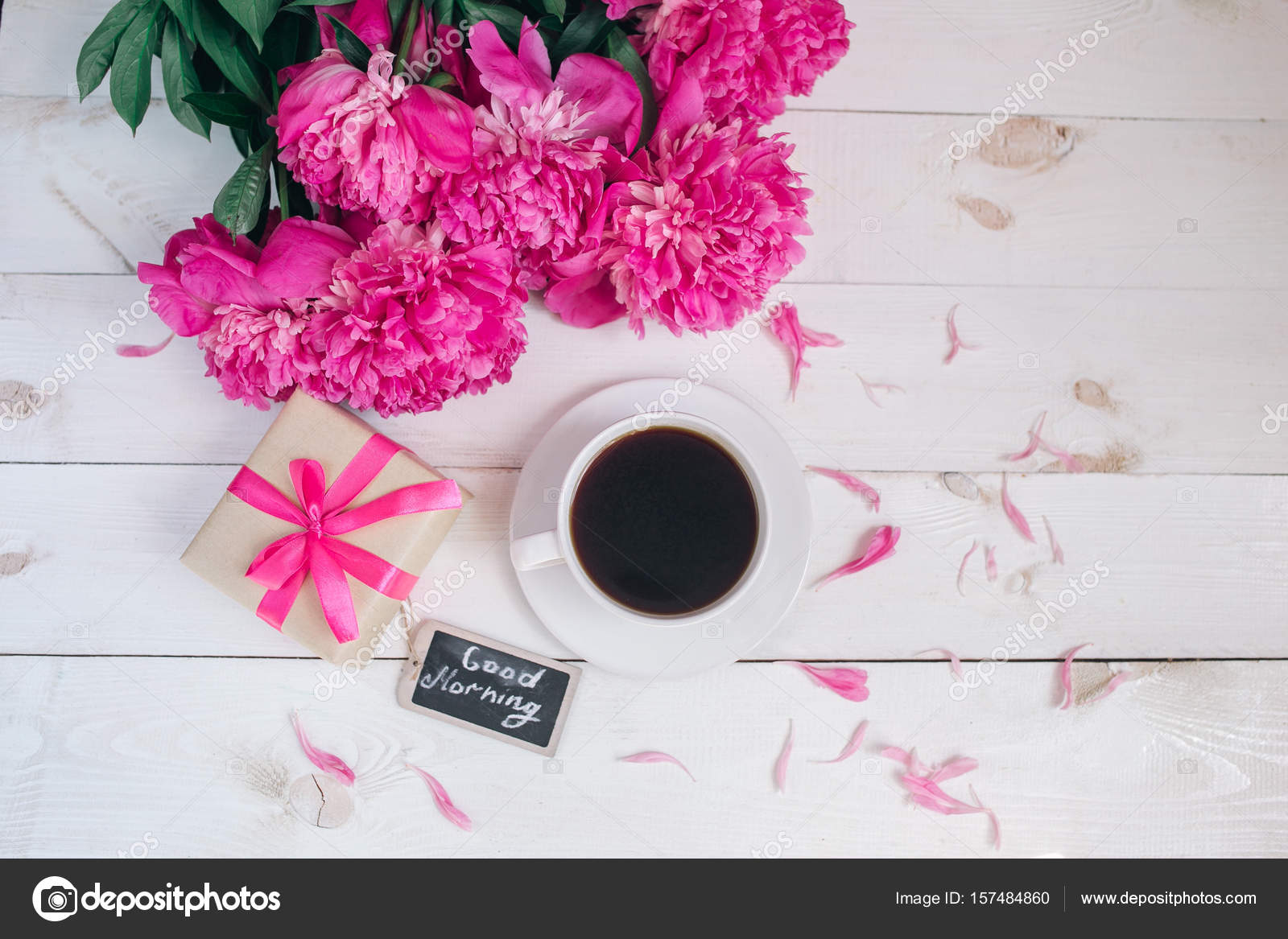 Pink Peony Flowersgift Box Cup Of Coffee And Notes Good Morning