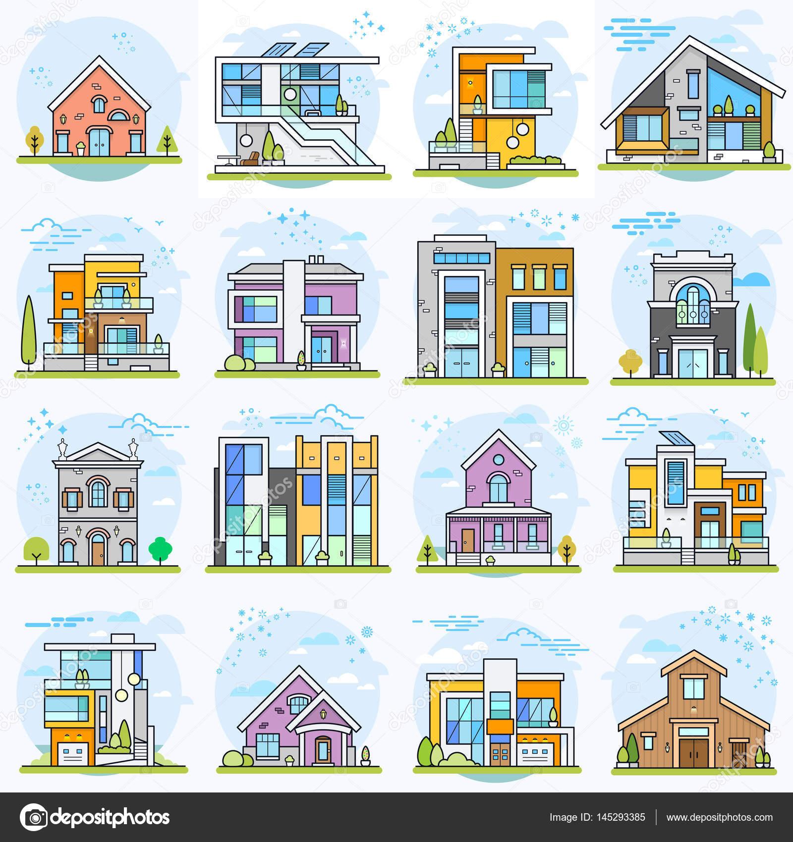 Exquisit Häuser Stile Das Beste Von Satz Von In Verschiedenen Stilen — Stockvektor