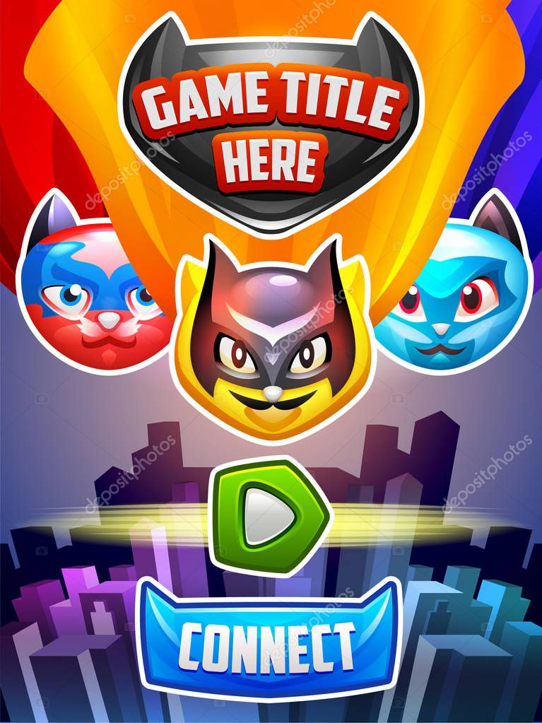 Main screen with cats in superhero