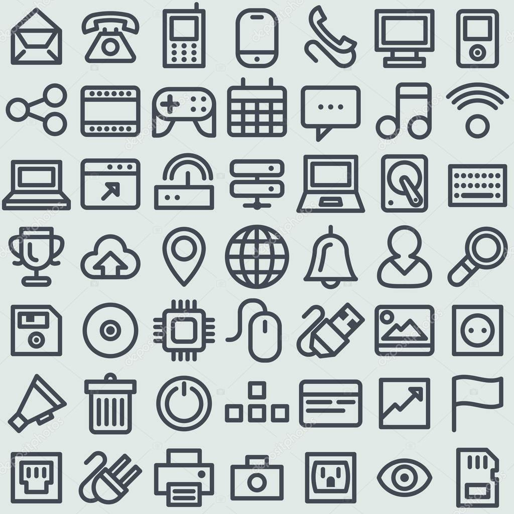 Simple line icons pack for your design.