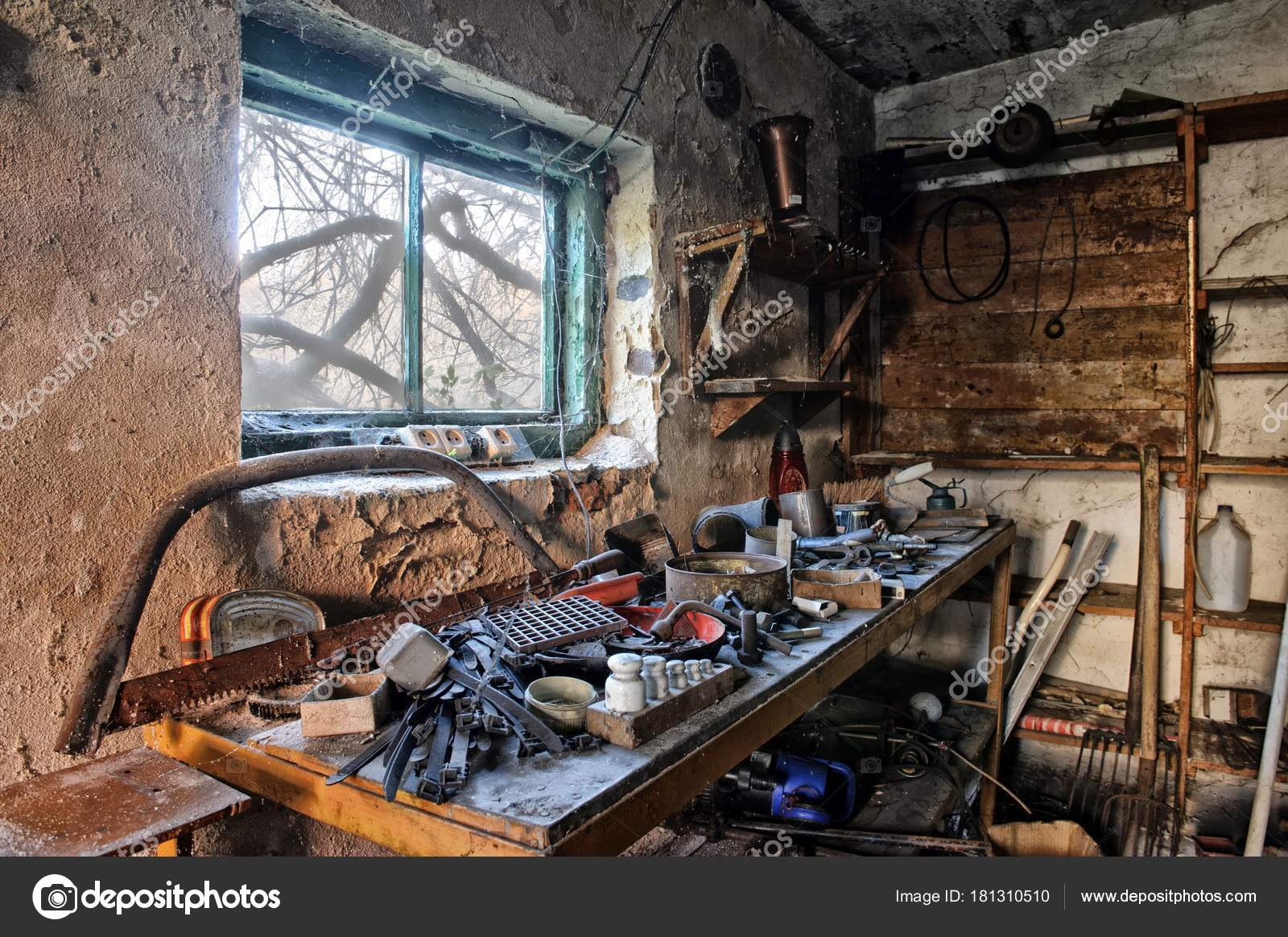 Interior Old Dirty Garage Full Stuff Stock Photo Image By C Gilotyna 181310510