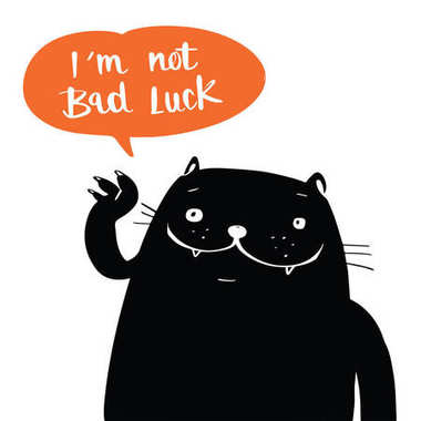 Illustration vector doodle style a black cat and i am not bad lu
