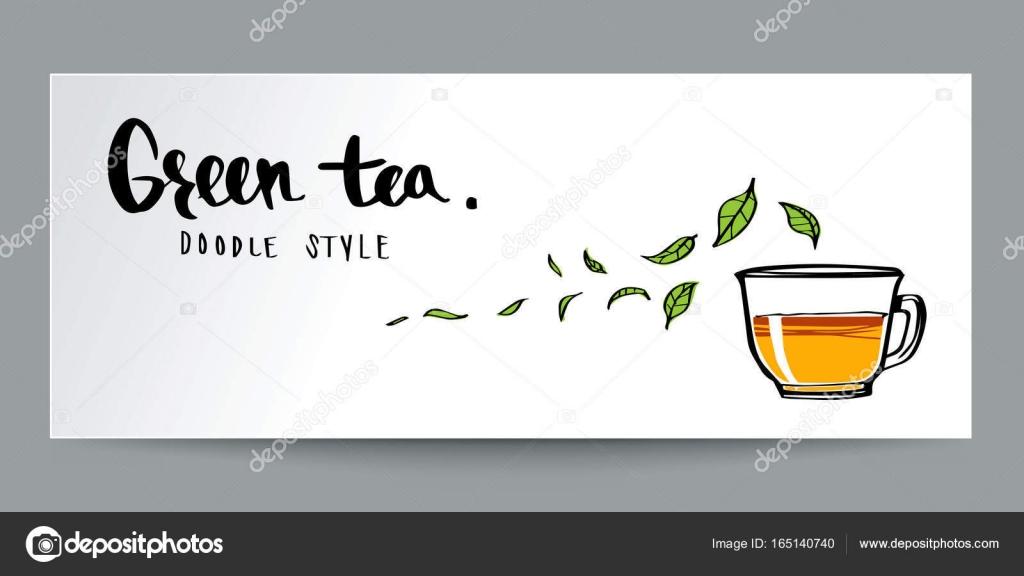 Hand gezeichnet Doodle Stil, grüner Tee und Kalligraphie ...