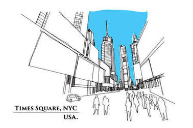 Times Square, New York. Street in perspective, Vector illustrati