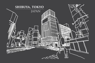 Shibuya crossing Junction, TOKYO, JAPAN in Ink Line Art.