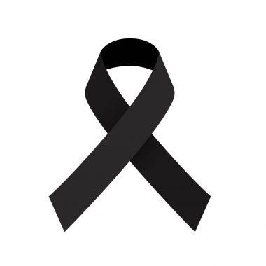 Black ribbon mourning sign, Vector illustration.