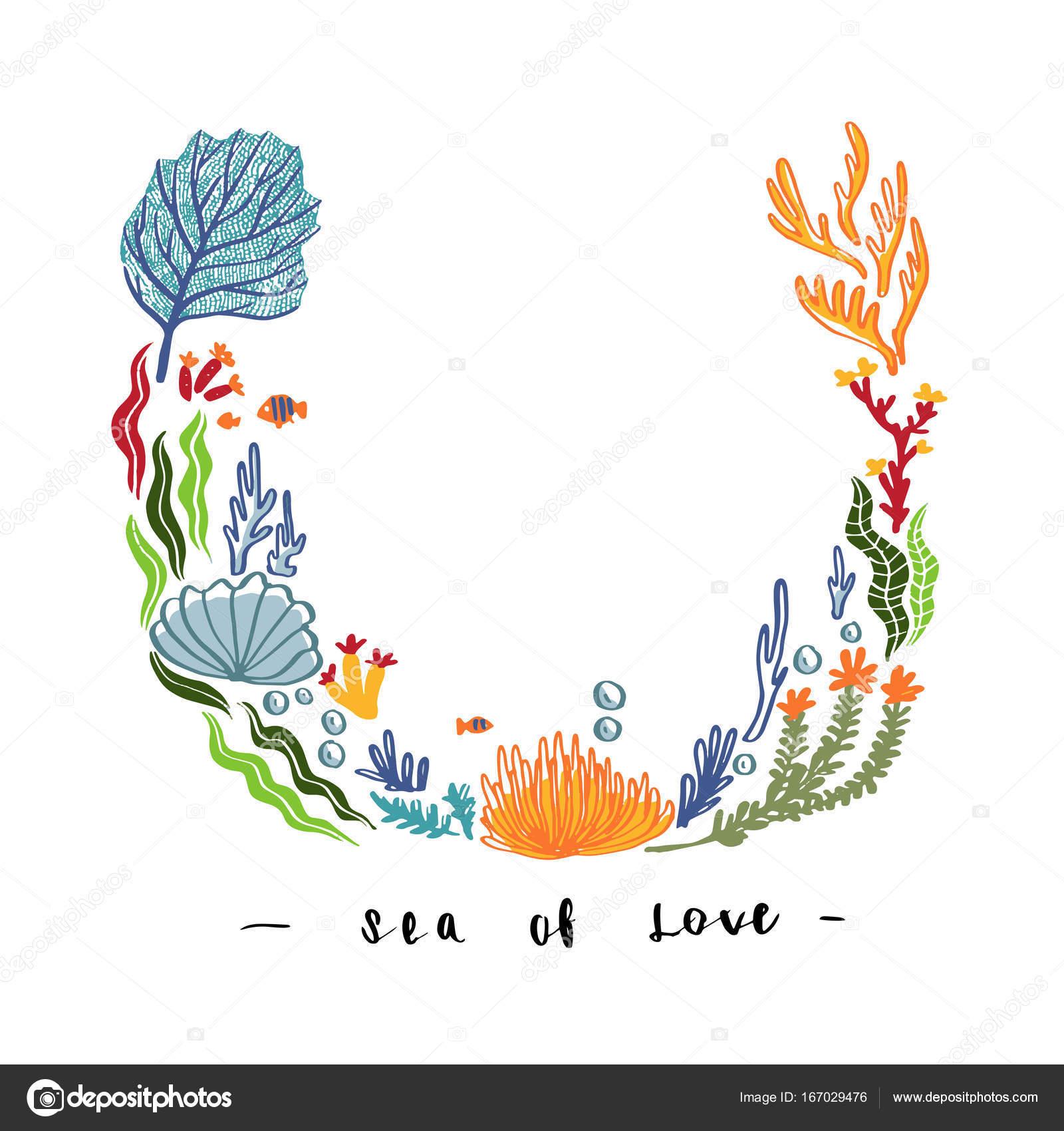 Hand Zu Zeichnen Seegras Und Korallen Design Für Mock Up Vorlage