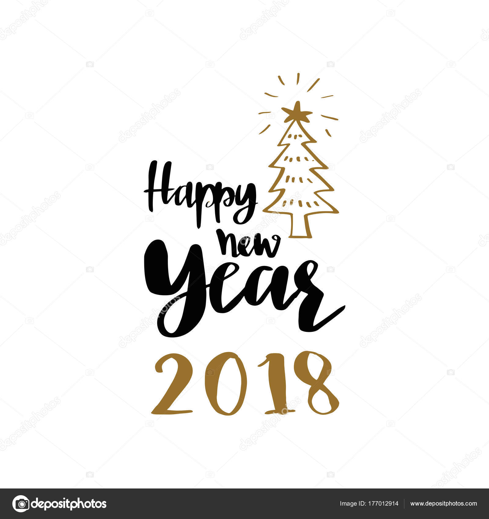 christmas tree and happy new year 2018 lettering calligraphy illustration vector greeting and invitation card