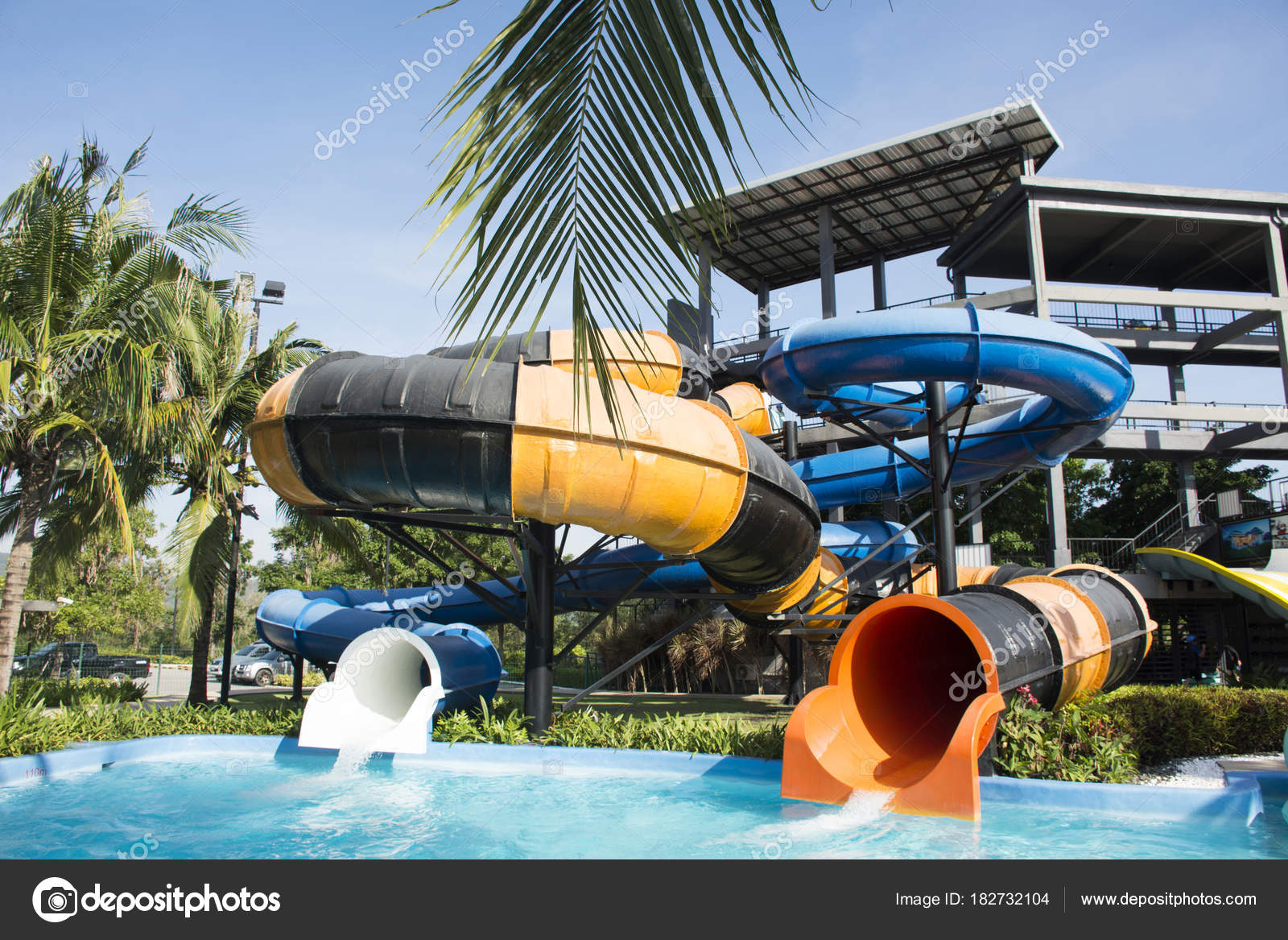 Big Slide Water And In Pool At Outdoor For People Playing Sw Stock Photo