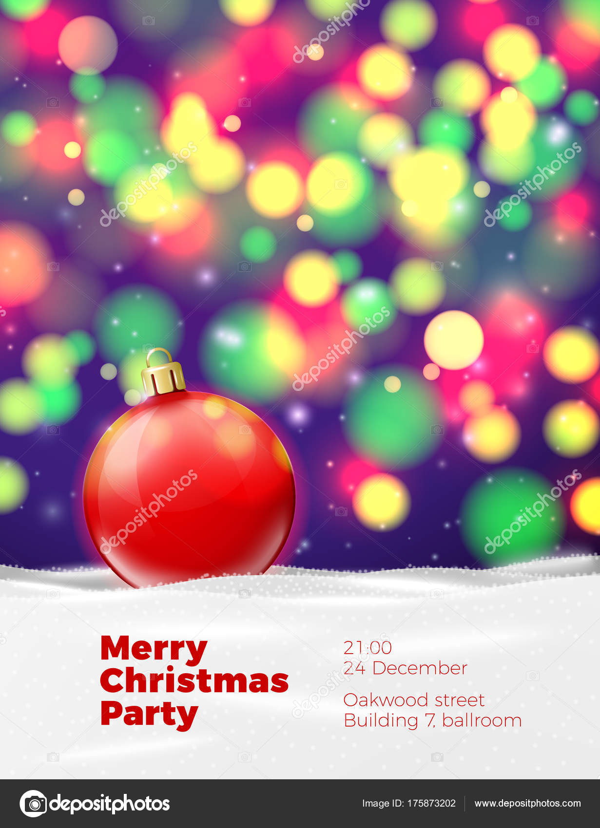 Vector Christmas poster template with red ball — Stock Vector ...