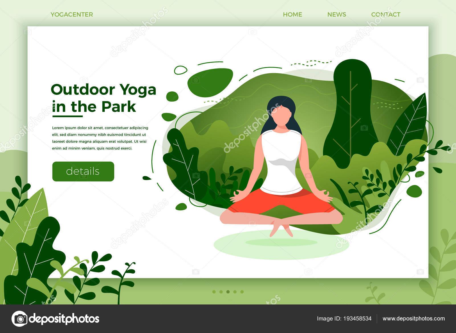 Chica en pose de loto de yoga al aire libre — Vector de stock ...