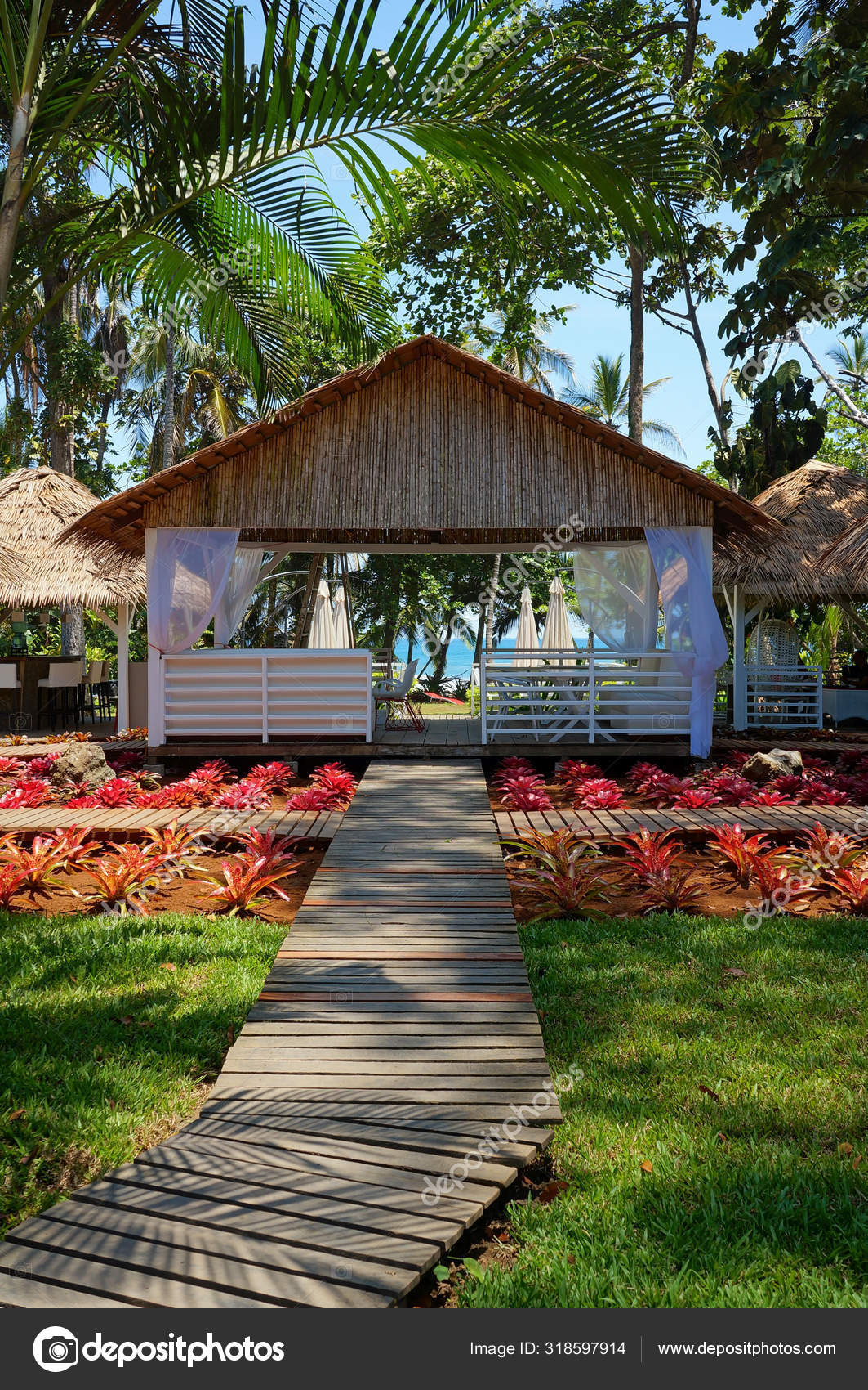 Walkway To Restaurant In Tropical Garden Stock Photo C Wildam 318597914