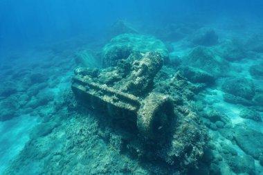 Wrecked ship marine steam engine underwater