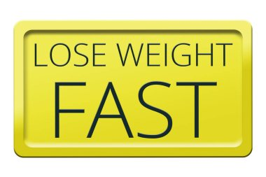 Weight loss concept on white background. Yellow Sign isolated on a white background. Sport and diet for losing weight. 3d render stock vector