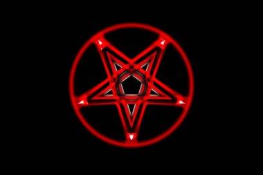 Reversed Pentagram symbol. Wiccan symbols- Cross of Sulfur. Blood red runic spell circle. Satanic sign, Magic casting ring. Pentalpha, Pentangle. 3d illustration.