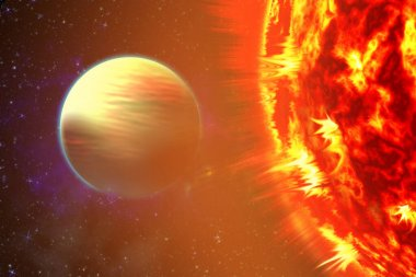 Photo of the sun in space. Close up view of a burning sun in space. Plasma Background. 3d illustration.