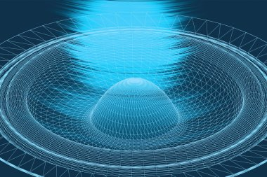Sound waves oscillating glow light, Abstract technology background. 3D illustration.