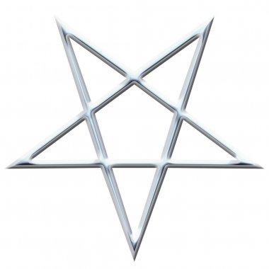 Reversed Pentagram symbol. Wiccan symbols- Cross of Sulfur. Metal runic spell circle. Satanic sign, Magic casting ring. Pentalpha, Pentangle. 3d illustration.