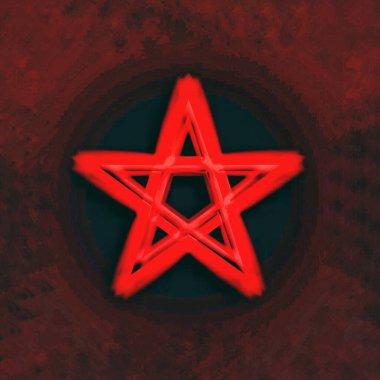 Reversed Pentagram symbol. Wiccan symbols- Cross of Sulfur. Bloo