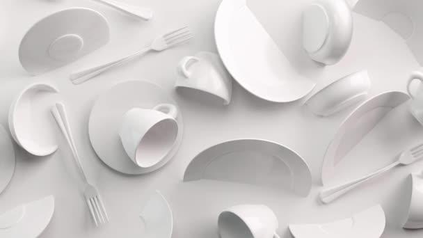White Food koncept pozadí pro design menu restaurace nebo kavárny. Zkopírujte místo pro logo. Leták s jídlem. Keramické talíře a nádobí. Bílé hrnky na kávu a talíře na bílém pozadí. 3D vykreslení