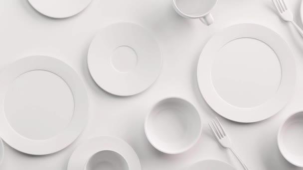White Food háttér koncepció design menü étterem vagy kávézó. Másold le a logód helyét. Ételszórólap. Kerámia tányérok és ételek. Fehér kávésbögrék és csészealjak fehér háttérrel. 3d renderelés