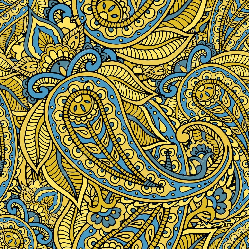 Seamless repeating pattern consisting of colored patterns buta.V