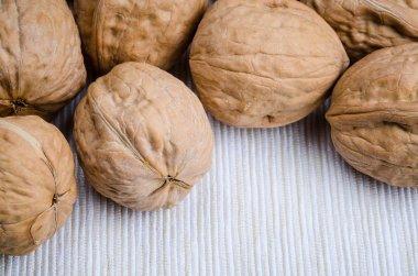 walnut on table cloth, close up