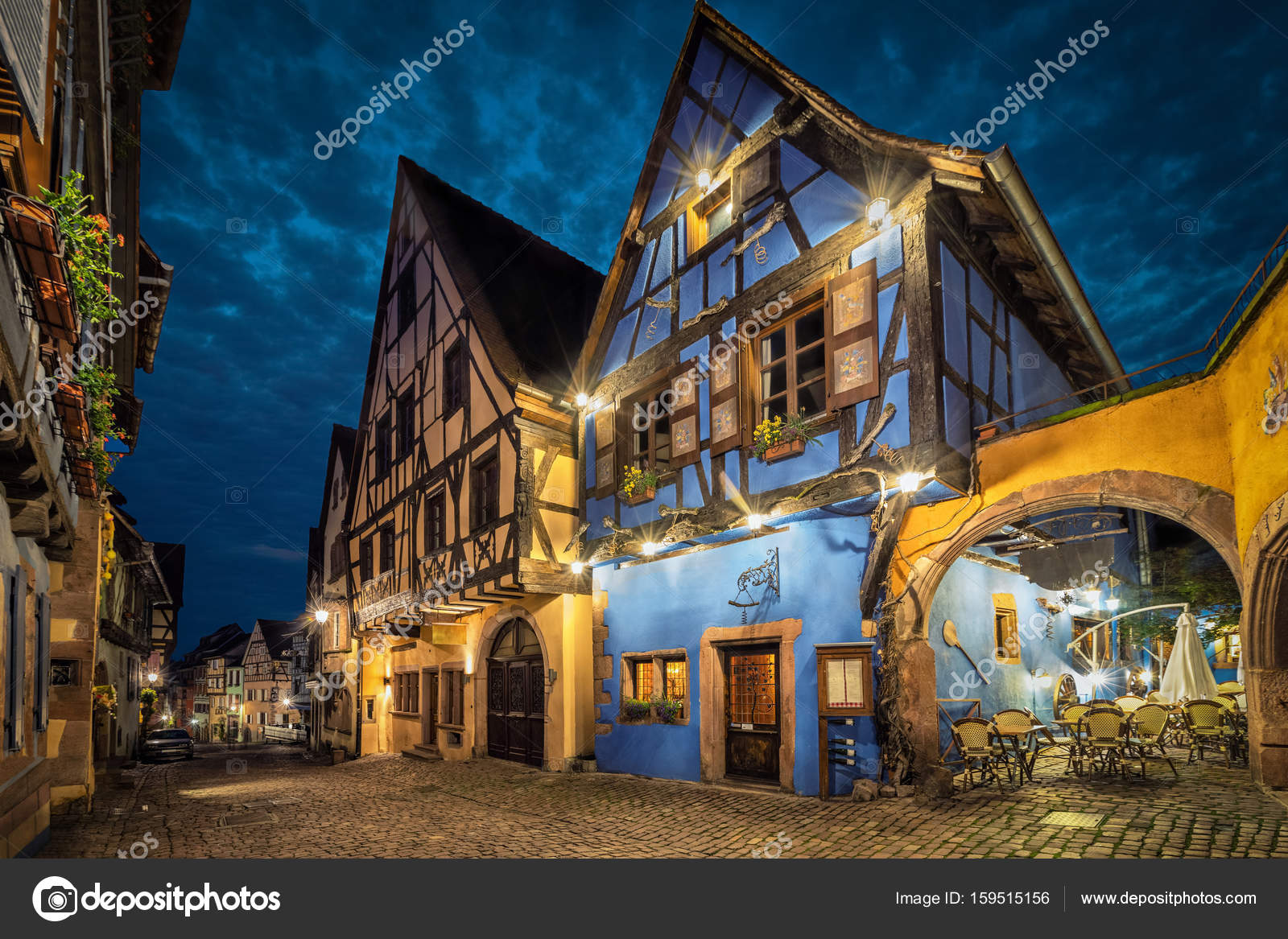 Colorful Traditional French Houses In Riquewihr France Stock Photo