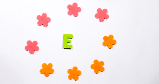 Letter E of the English alphabet. Dancing letter on a white background.