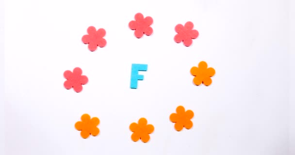 Letter F of the English alphabet. Dancing letter on a white background.