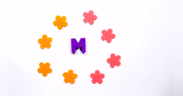 Letter M of the English alphabet. Dancing letter on a white background.