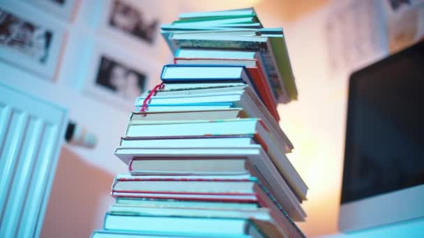 close-up of a stack of books in a library