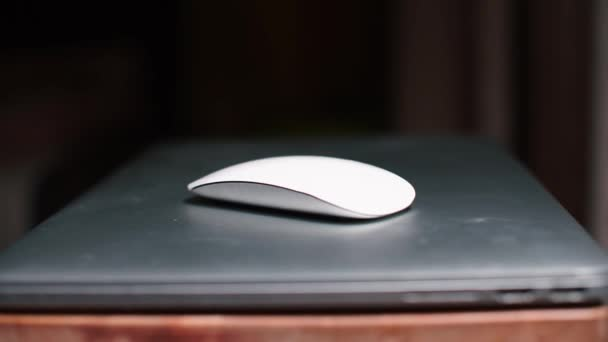 A computer mouse lies on the surface of a laptop.