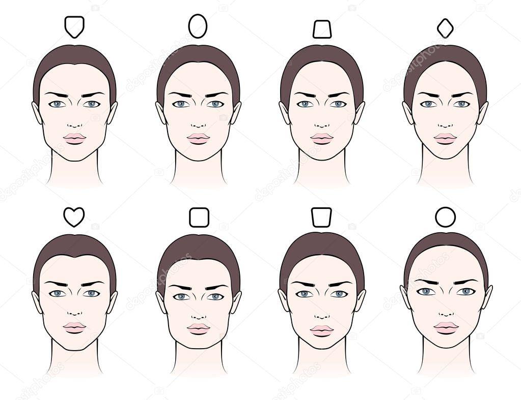 Varios Rostros Femeninos — Vector De