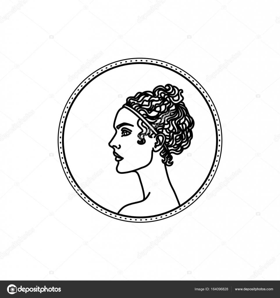 Vektor Illustration Der Antiken Griechischen Frisur Stockvektor
