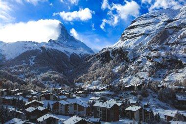 Amazing view on Zermatt - famous ski resort in Swiss Alps, with view on Matterhorn mountain