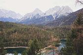 Fotografie Bild des klassischen schöne lebendige österreichische Landschaft Straße Bergblick mit Alpen Berge, Brücke, Kühe, Wiesen und Dorf, Österreich