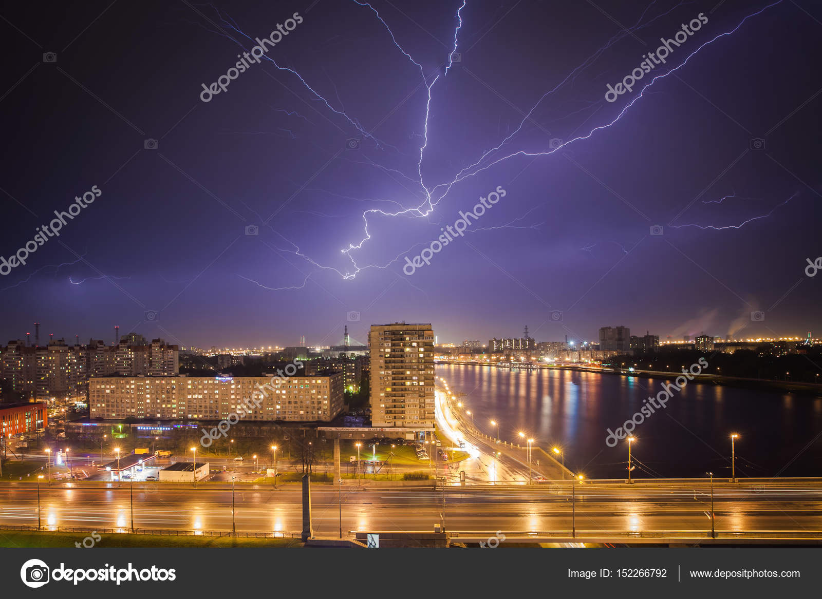 Very Big Lightning On The City Night Cityscape With Strong Majestic View Town In Dark Stormy Dramatic Sky Severe
