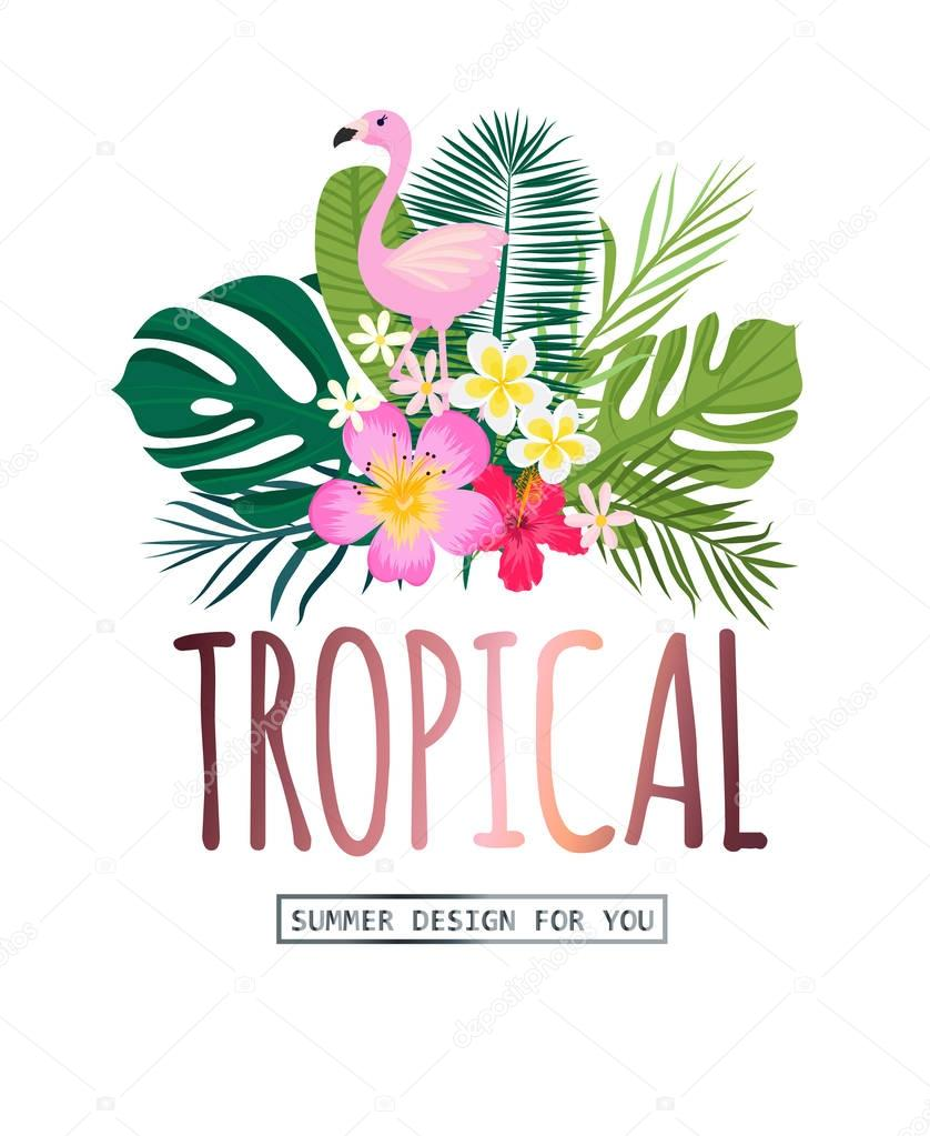 A tropical card with palm leaves and exotic flowers.. Vector